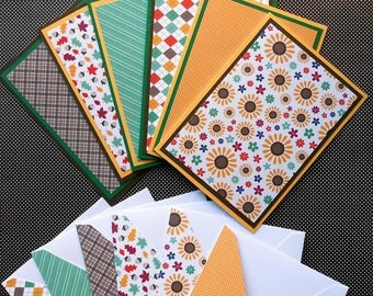 Blank Notecard Set - 6 Different Cards with Matching Embellished Envelopes - Sweater Weather