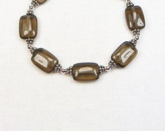 Smoky Quartz Bracelet - Sterling Silver - Bali Silver - Beaded Jewelry - Natural Stones - Gift For Her