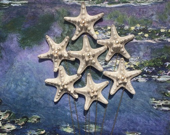 Pearly Starfish Stems with Pearls - 7 Stems for a Wedding Bouquet Bridal Bouquet or Centerpiece