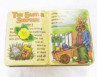 The silver crane company book shape tin box the easter suprise england