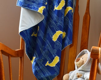 Whales and Waves Minky backed baby blanket - READY TO SHIP