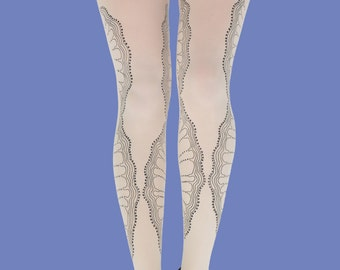 Gifts for her, Black lace tights, La boheme print black print available in S-M, L-XL, gift ideas