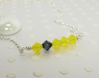Yellow and Grey Crystal - Accent Color - Lemon Sunshine Spring - Handmade Necklace – Crystal Necklace – Sterling Silver Necklace