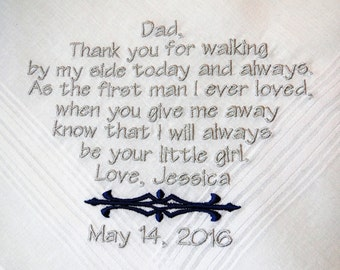 Personalized Father of the Bride from Bride embroidered wedding men's handkerchief thank you present gift envelope