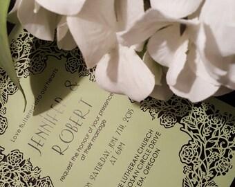 Delicate Laser Cut Wedding Invitations by Kim Boyce Designs