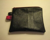 Mini black leather purse