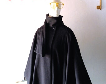 Vintage 1970s Japanese Minimalism Comme de Style Felted Wool Goth Druid Cape Coat - IMAGES by I&A - size M 4 6 8 - Winter 70s into 80s Chic