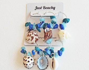 BEACH DECOR, 6 wine/goblet charms, barware, coastal decor, nautical, beach entertaining, hostess gift, house warming, beach wedding favor