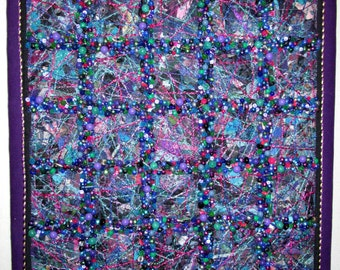"Jeweled Fabric Collage, Beaded Wall Hanging, 20"" x 20"""