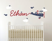 Airplane Wall Decal Boy Name Skywriter Kids Baby Nursery Personalized Cursive Script Travel Room Theme