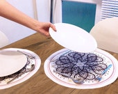 Large Fabric Placemats // Round Table Mats // Christmas Table Linen