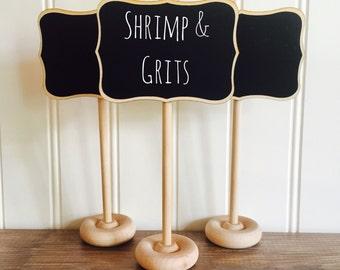 12 Mini Chalkboard Table Stands, Fancy Style - Place Settings, Food Marker, Wedding Chalkboards, Rustic Wedding