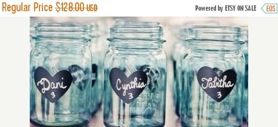 Buy 2 Get 1 FREE- 240 Heart Chalkboard Mason Jar Labels - DIY Mason Jars, Heart Chalkboard Stickers- Water Resistant