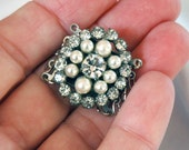 Vintage Oval Box Clasp, 5-Strands w/Jump Rings, Crystal Rhinestones, Faux Pearls, Silver Plate Base Metal, Quality, Excellent Old Condition
