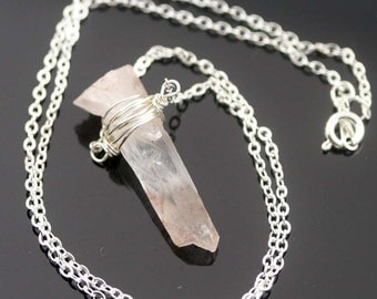 Purify raw crystal point necklace - frosty white with amber red (RS)
