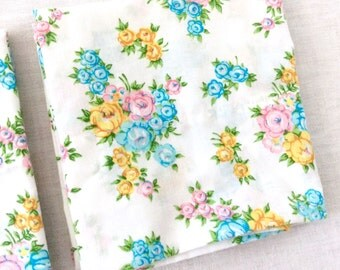 2 Flower Pillowcases by Dan River Blue Pink Yellow