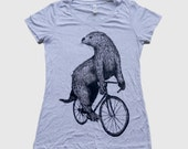 Womens Otter on a Bicycle - White Fleck Tee