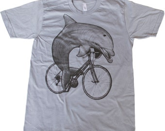 Dolphin on a Bike- Mens T Shirt, Unisex Tee, Cotton Tee, Handmade graphic tee, Bicycle shirt, Bike Tee, sizes xs-xxl