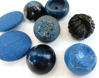 Feeling Blue Vintage Buttons - 8 Celluloid Fabric Rhinestone Plastic for Jewelry Beads Sewing Knitting Coat Button