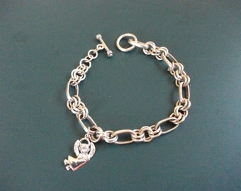 Vintage Sterling Silver 925 Toggle Charm Bracelet With Sterling Silver Angel Charm Signed