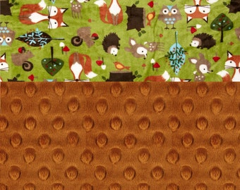 Woodland Animal Minky Blanket Boy, Green Foxes Hedgehogs Brown Personalized Baby Blanket Rust