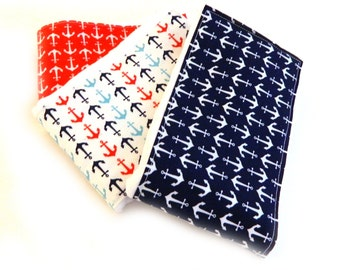 SALE Boy Burp Cloths -Red White Blue Anchors- Set of 3, Baby Clothes Diaper