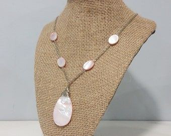 Pink Shell Teardrop Necklace