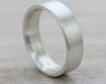 6x2mm Men's Comfort Fit Silver Wedding Band - Bespoke recycled eco-friendly sterling wedding band - Minimal and modern ring