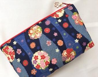 Sakura & Chrysanthemum Zipper pouch/ Cosmetic Purse