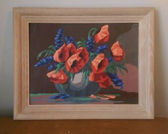 Vintage Paint by Numbers Poppies and Hyacinth in a Vase.