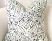 Aqua Pillow Turquoise Pillow Cover Decorative Throw Pillow Aqua Gray Pillow Cushion Accent Pillow Medallion Pillow