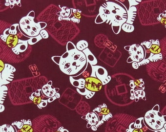 2668B -- New Lucky Cat Fabric in Burgundy Red, Japanese Lucky Fortune Cat Fabric, Cat Fabric