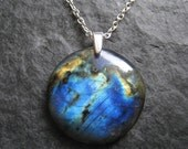 RESERVED for Nefertiti Vintage - SALE - Blue and Black Round Shaped Labradorite Pendant with Awesome Golden Flashes