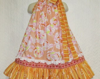 Girls Dress 3T/4T Peach White Pink Flower Boutique Pillowcase Dress, Pillow Case Dress, Sundress