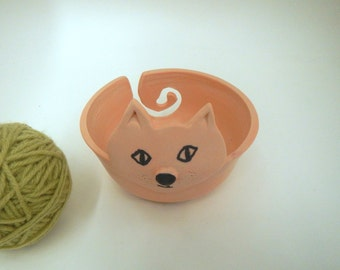 Pink Kitty Yarn Bowl