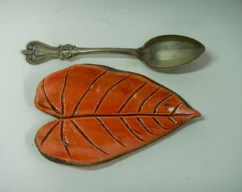 Leaf Spoon Rest -Orange Leaf Dish-Ceramic Leaf Dish