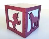 """Majestic pink unicorn light box - 3"""""""