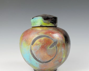 Pet Urn or Keepsake Urn with Copper Red Turquoise  Raku and the Continuum of Life Emblem