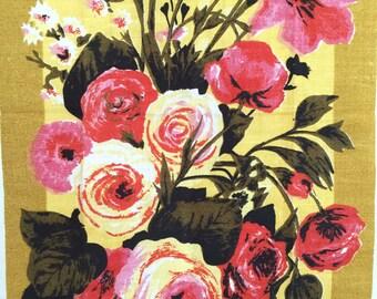 Floral Linen Tea Towel Linen Still Life Flower Arrangement NOS Varitex Mother's Day Gift