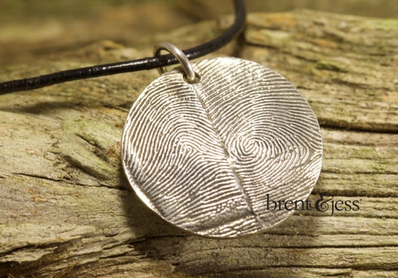 Circular Double Thumbprint Necklace in Sterling Silver
