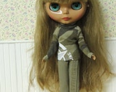 Camouflage shirt with matching pants for Blythe doll, army, camo, khaki