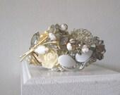 SALE Bridal Cuff Bracelet Crystal White Gold Collage Vintage Brooch Wedding Rose  Silver Grey Pearl Adjustable