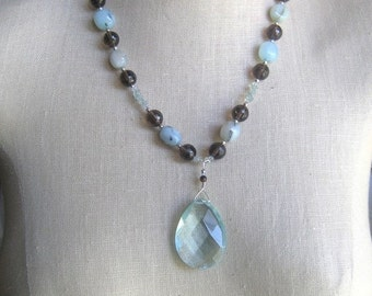 SALE Light Blue Brown  Crystal Pendabt Wire wrapped Alexa Necklace Smoky Topaz Blue topaz like Quartz Opal Aqua