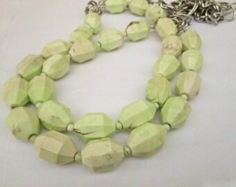 Lemon Lime Chunky Natural Australian Chrysoprase  Beaded Chain Necklace