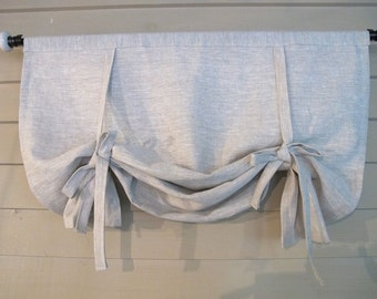 "Gray Linen 48"" Long Swedish Roll Up Shade Stage Coach Blind Tie Up Curtain Swag Balloon Custom Made to Order"