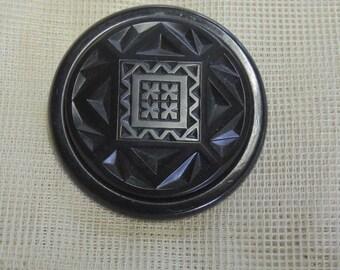 Vintage Black Glass Coat Button, Art Deco Coat Button, Large 2 Inch Button, Geometric Design REDuCED
