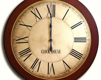OVERSIZED WALL CLOCK 30in Whiting Distressed Clock-Red Frame-Large Wall Clock-Family Heirloom-Free Inscription