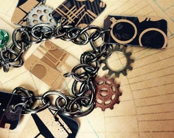 FREE SHIPPING - upcycled steampunk Starbucks bracelet