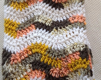 Ready to Ship Soft and Cozy Striped Misfits and white wave Baby Blanket - Beautiful and Luxuriously Handcrafted CROCHET Blanket