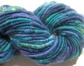 Handspun yarn, Fantasy, 72 yards, sparkly art yarn, blue  purple green corespun yarn, knitting supplies, crochet supplies Waldorf doll hair